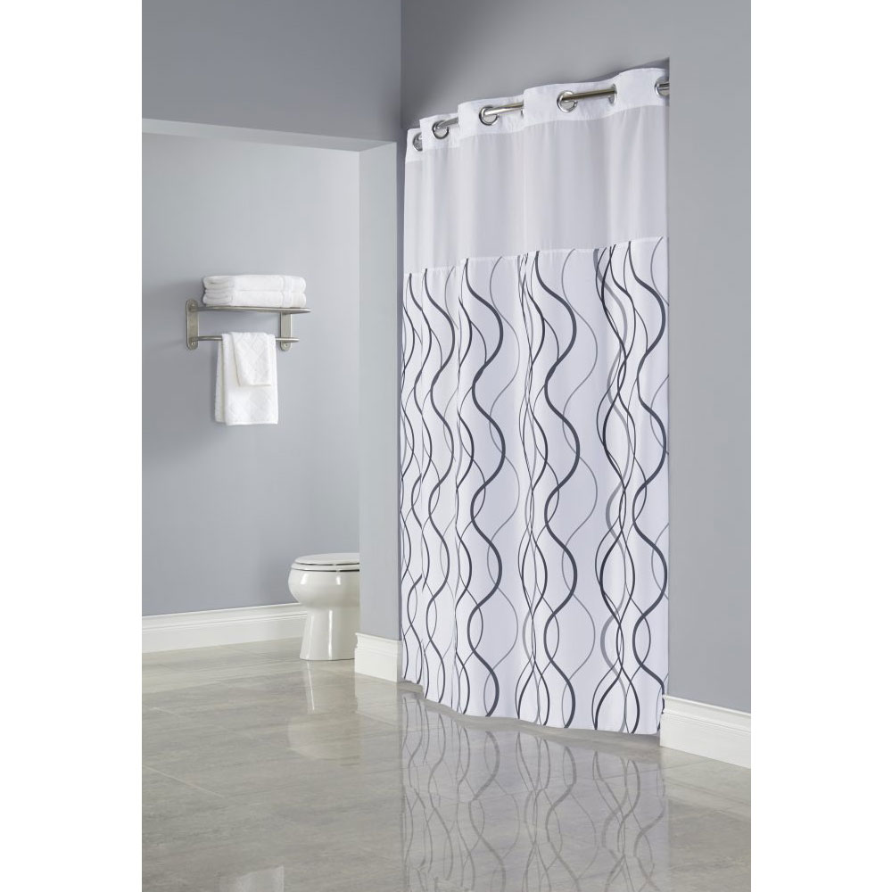 Hookless Waves Polyester Shower Curtain W It S A Snap Replaceable Liner 71x77 White Grey