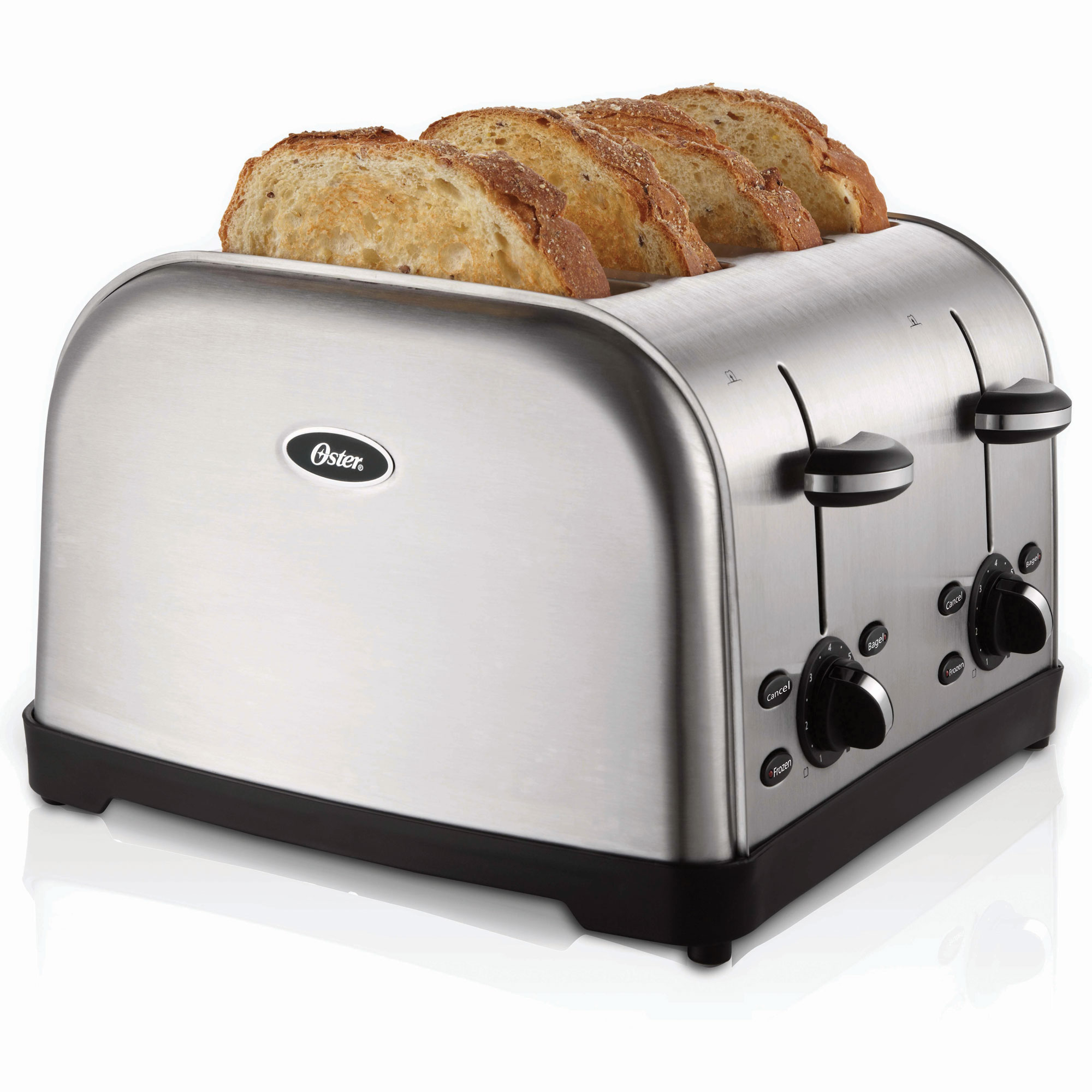 Sunbeam TSSTTRWF4S-SHP Oster 4 Slice Extra-Wide Slot Toaster Brushed Stainless Steel 2 Per ...